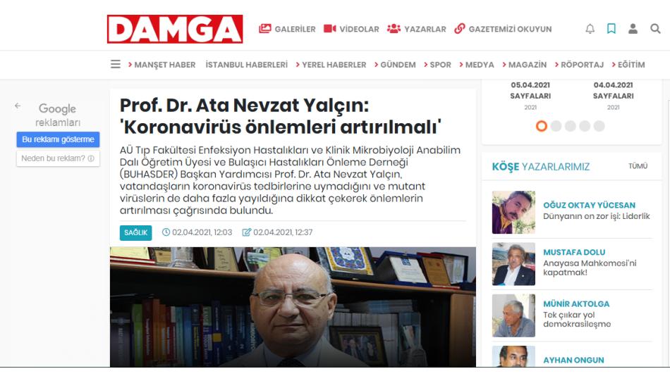 Prof. Dr. Ata Nevzat Yalçın: 'Koronavirüs önlemleri artırılmalı'